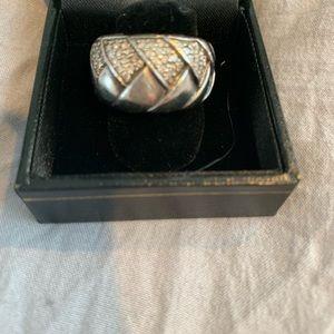 Scott Kay Silver and Diamond basketweave ring